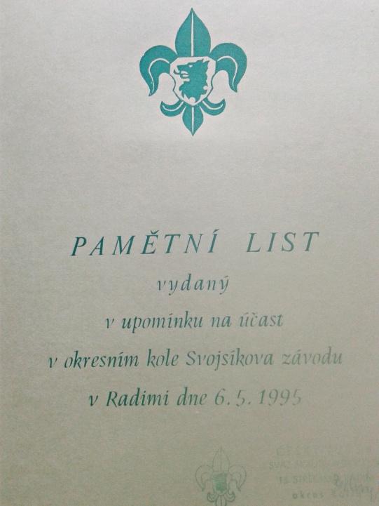 pamětní list Radim