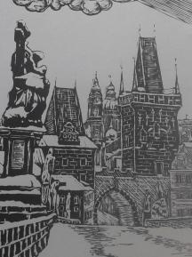 tisk z dřevorytu Karlův Most, printing from wood-cut Charles Bridge
