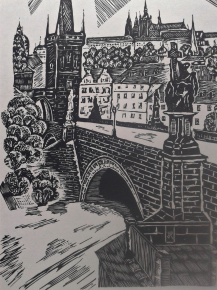 tisk z dřevorytu Karlův Most, printing from wood-cut Charles Bridge