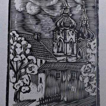 tisk z dřevorytu klášter Želiv, printing from wood-cut Želiv monastery