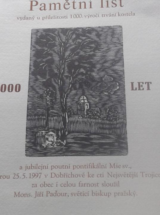 pamětní list mše Dobřichov
